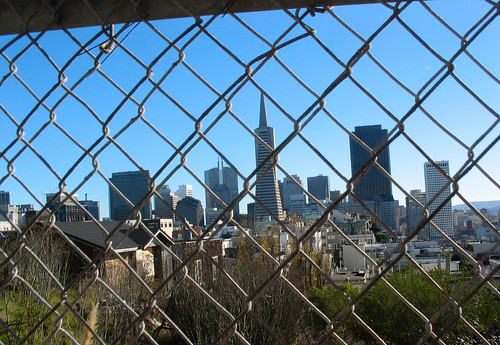 The city behind a fence
