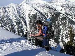Carol (Silly Traveler) reaching summit of Arrowhead