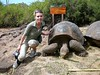 Michelle and Giant Tortoise