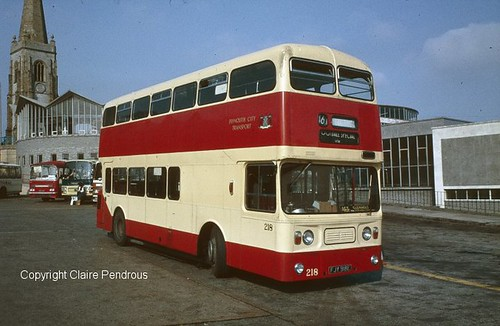 Plymouth CT, Leyland Atlantean No 218 (FJY 918E) in Plymouth Bus Station on 11th September 1982