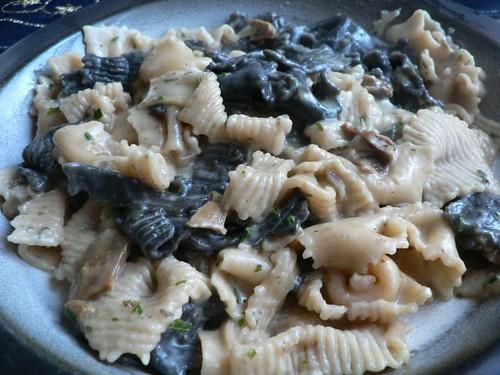 Wild mushroom cream sauce with pasta