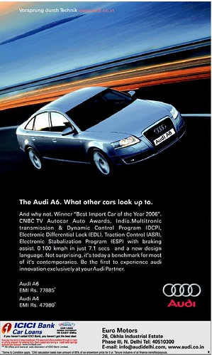 77885* and the Audi A4 at an EMI of Rs. 47980*, according to this advert
