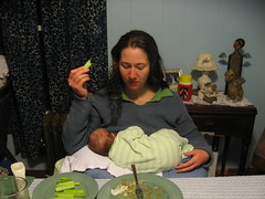 mom and baby eat