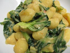 5-minute gnocchi with hummus based sauce