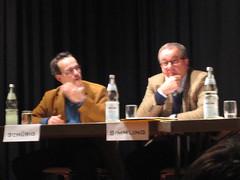 Landtagskandidaten Henning Schürig (Grüne) und Werner Simmling (FDP)
