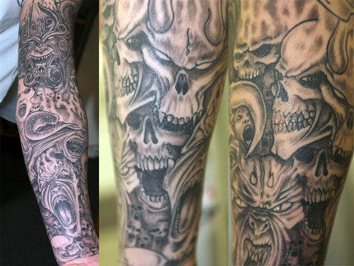 Grey Evil Sleeve Tattoo Tattooed At The Studio Crayford