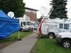 Satellite Truck Row Outside Stoughtenburg Gym