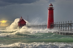"""The Storm"" Grand Haven Lighthouse , Grand Haven Michigan photo by Michigan Nut"