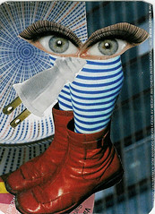 Collage ATC - Artist Trading Card - called SEEKING CONTACT made by iHanna