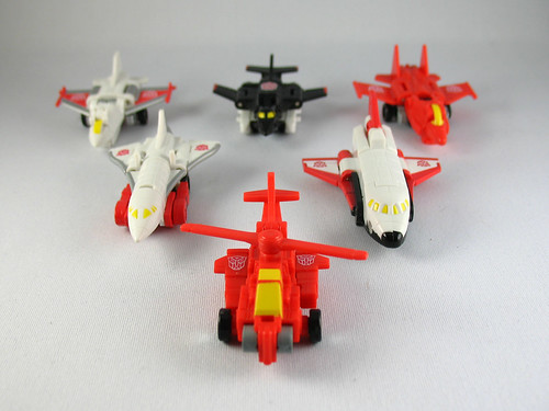 Transformers Universe Ro-Tor, Skydive, Storm Jet, Fireflight, Air Raid, and Siverbolt
