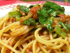 小松菜と納豆のトマトスパゲティ
