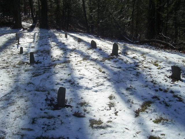 Shadows and Snow on the Cemetary