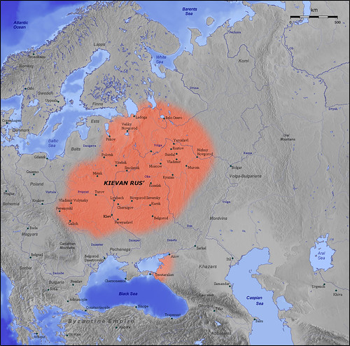 Map of Kievan Rus realm, 11th century