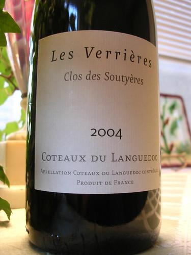Les Verrières - Clos des Soutyères, Coteaux du Languedoc 2004 (PLCB No. 20202)