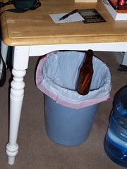 beer bottle balanced on trash can