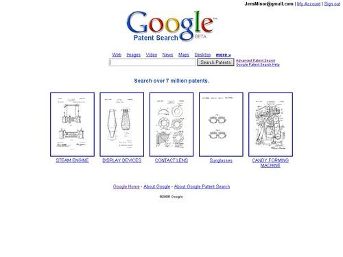 Google Patent Search Startseite