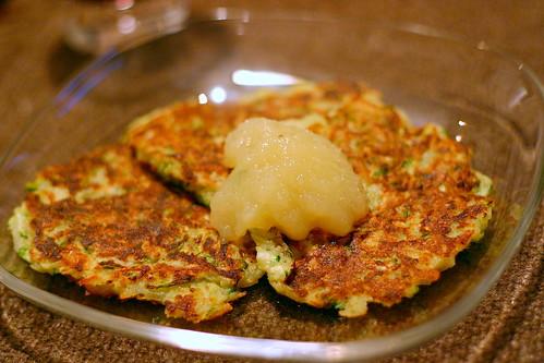 zucchini latkes, apple sauce