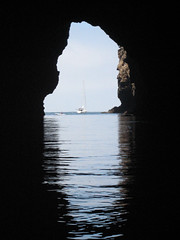 View of the outside world, as seen from within Painted Cave, the world's largest sea cave, Santa Cruz Island, Channel Islands, California