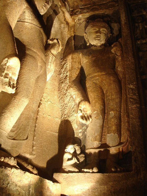 The interior of one of the caves at Ajanta - Web-site quality photo
