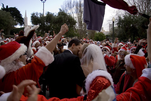 santas at a wedding