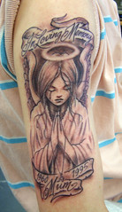 grey weeping angel Tattoo photo by Flaming Art Tattoo