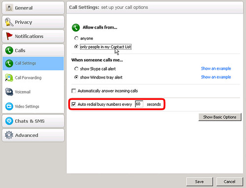 Auto Redial Setting