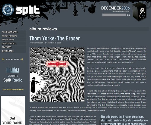 My Review on Split of Thom Yorke's The Eraser