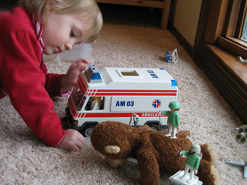 Playmobil ambulance and Monkey