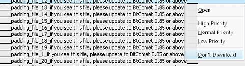 bitcomet padding file