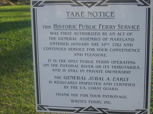 White's Ferry notice