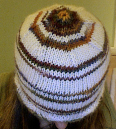 Self-Striping Yarn Hat - Top View