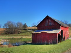 Red Barn by the Farm Pond