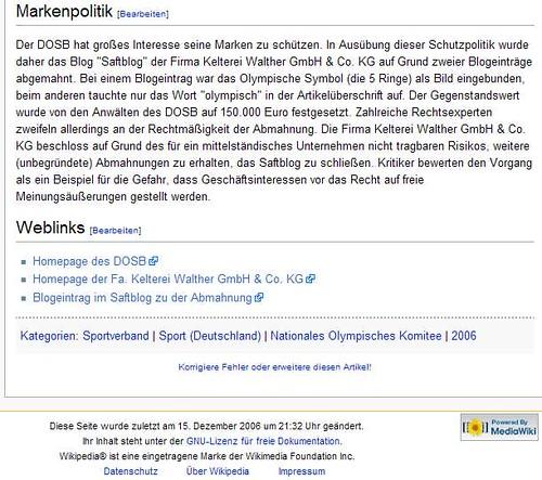 DOSB-Eintrag in Wikipedia zum Saftblog
