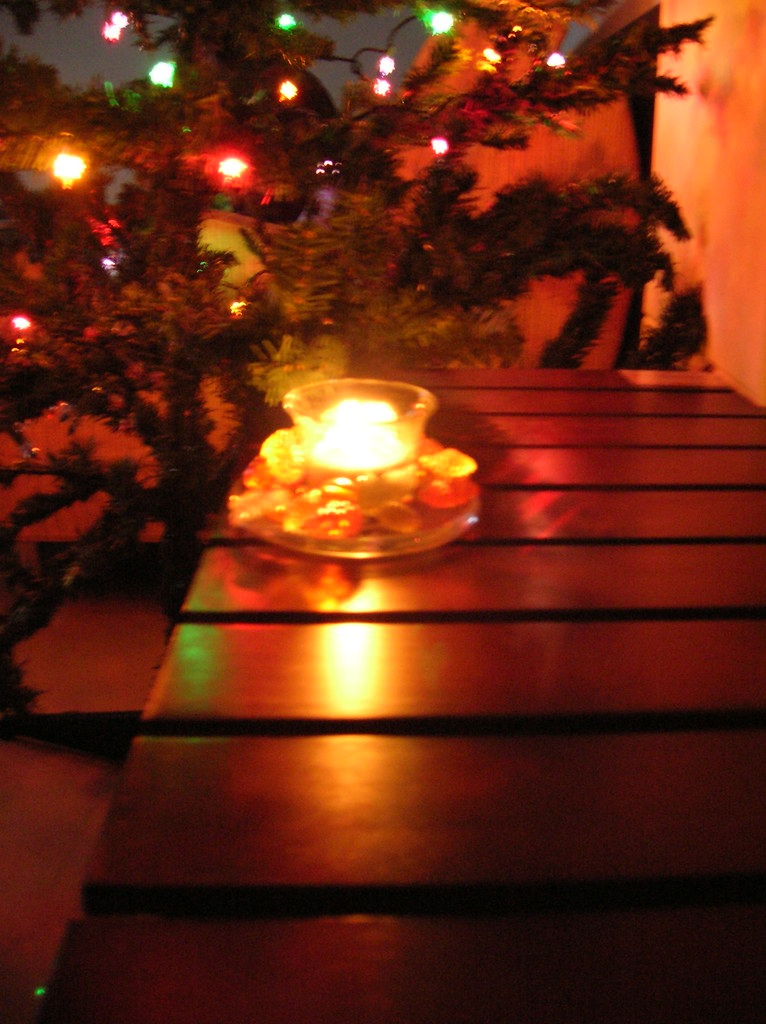 x'mas tree and candle light