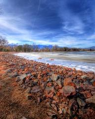 Sand, Rock, Ice, Lake, Mountain, Sky and Cloud photo by iceman9294