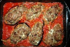 Gefüllte Melanzani / Stuffed Aubergines