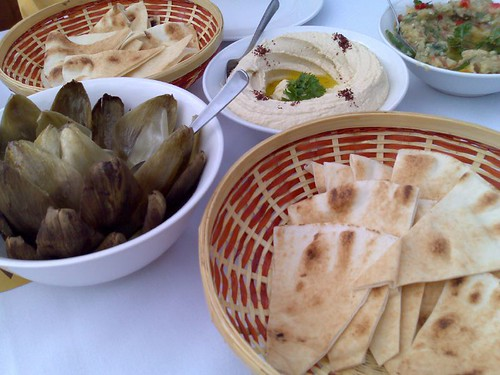 From left: artichoke, hummus, and baba ganoush