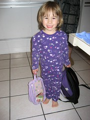 Emily, her favorite outfit, and her backpacks