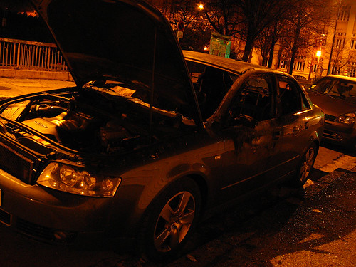 side of burned Audi