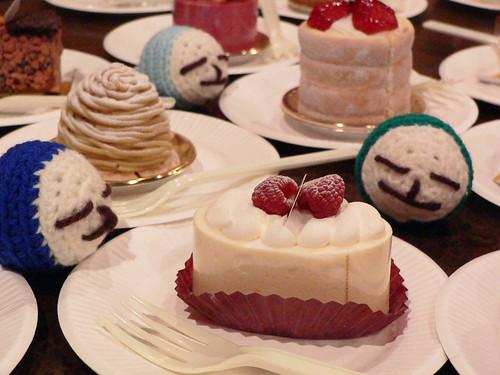 a cake and three