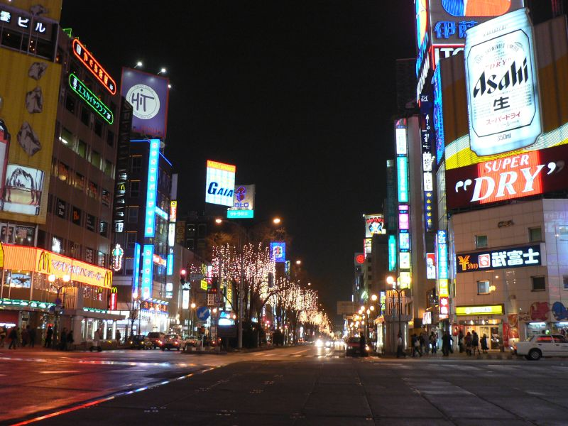 Sapporo city at night