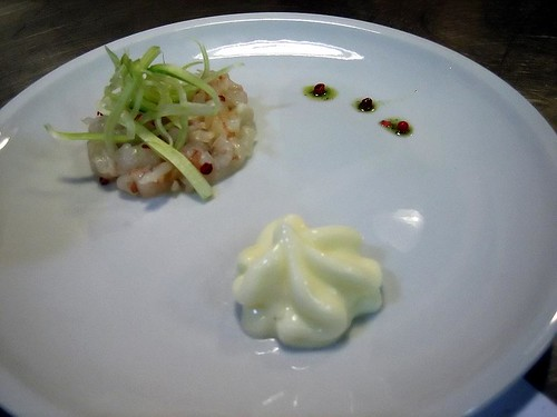 Shrimp Tartar with Pink Peppercorns and Citrus Foam
