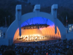 The Hollywood Bowl glows at sunset