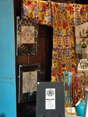 Alchemical prints and Uzbek ikat tunic.