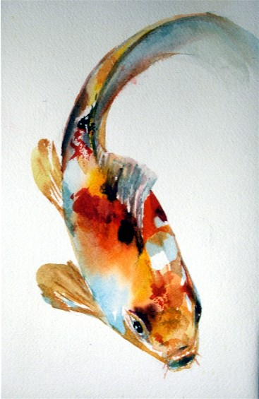 Tropical koi a painting a day sold a painting a day for Japanese fish painting