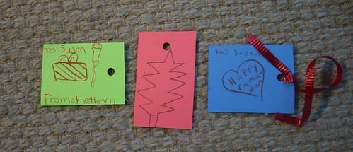 Gift tags made by Kathryn, Serenity, and Adam