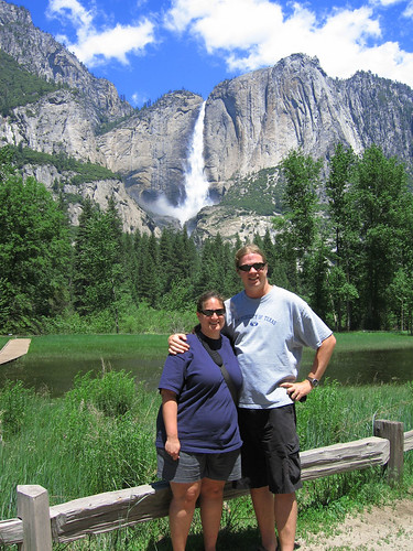 Ed and Michelle in front of Yosemite Falls