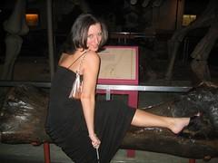 jess on dinosaur leg bone
