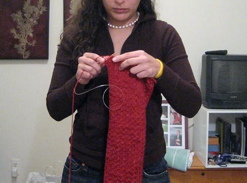 Knitting Drew's Scarf