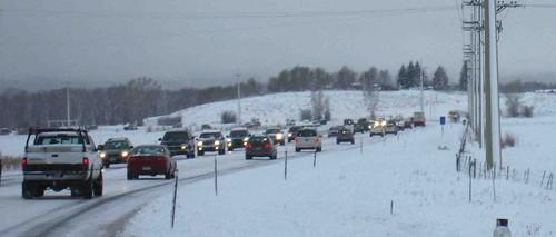Snow slows traffic